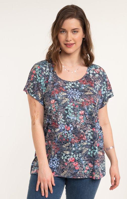 Tee-shirt fleurs et strass