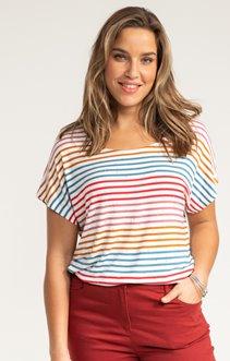 Tee-shirt RAYURE FOND BLANC STRASS