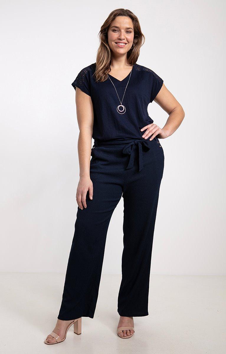 Pantalon taille élastiquée avec ceinture