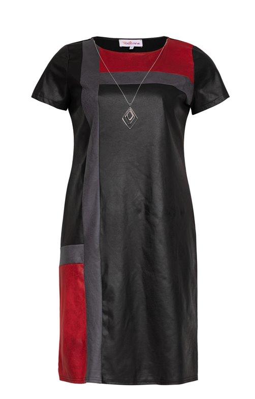 Robe avec patch de couleurs et collier