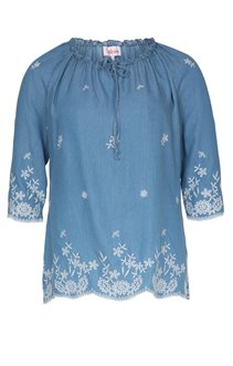 BLOUSE EN TENCEL BRODE ALL OVER