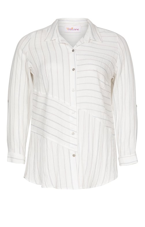 CHEMISE A RAYURES PATCHEES