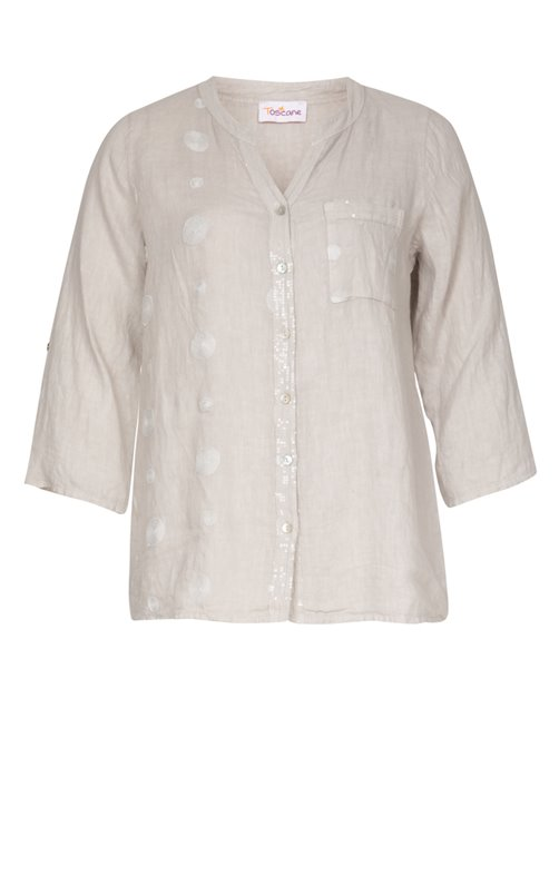 CHEMISE COL TUNISIEN UNIE + BRODERIE