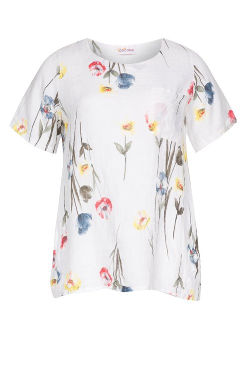 BLOUSE EN LIN IMPRIME ALL OVER + 1 POCHE