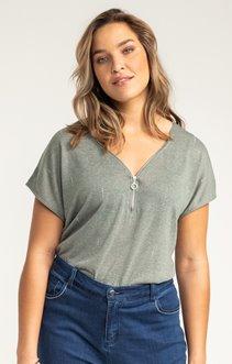 Tee-shirt UNI ZIP STRASS