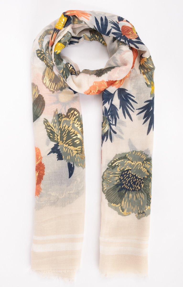 Foulard fond blanc avec fleurs