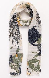 Foulard support travaillé avec fleurs