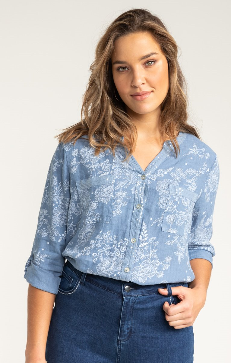 CHEMISE COL SEQUINS