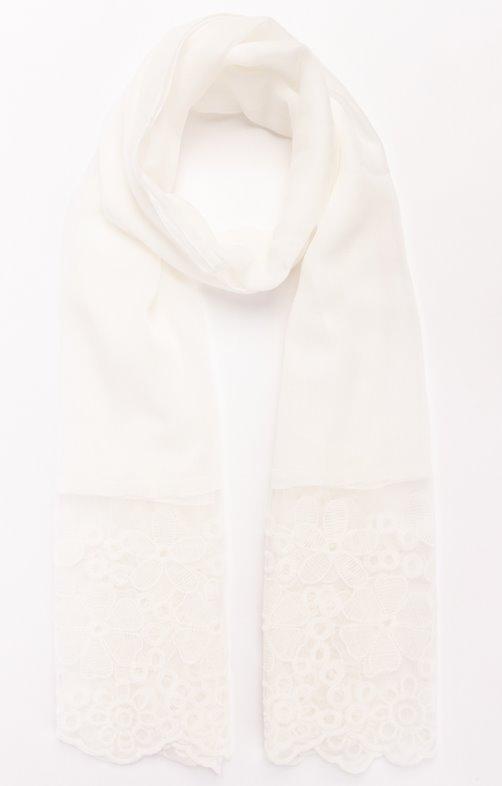 Foulard uni avec bordure dentelle