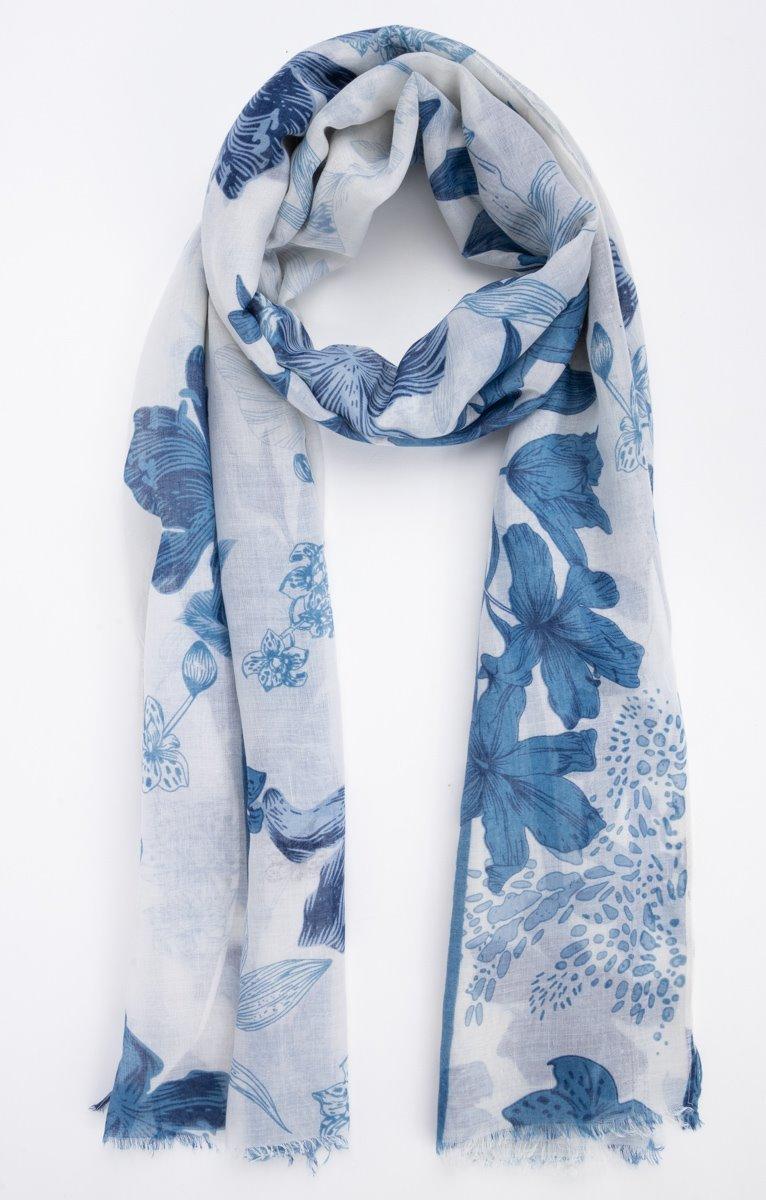 Foulard fond blanc avec fleurs jean