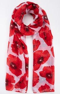 Foulard fond blanc fleur rouge