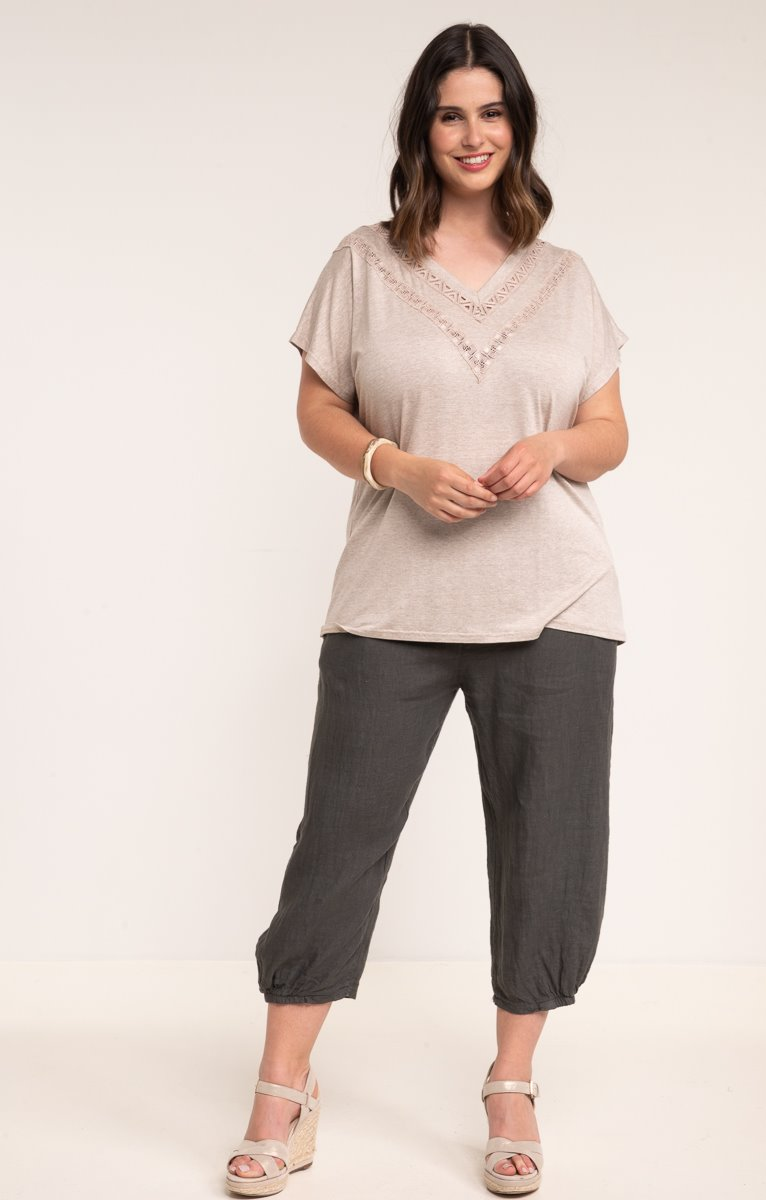 Pantalon lin boule avec surjet flatlock