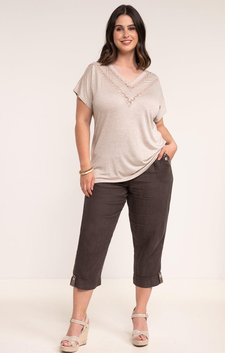 Pantalon lin avec poches bande sequins