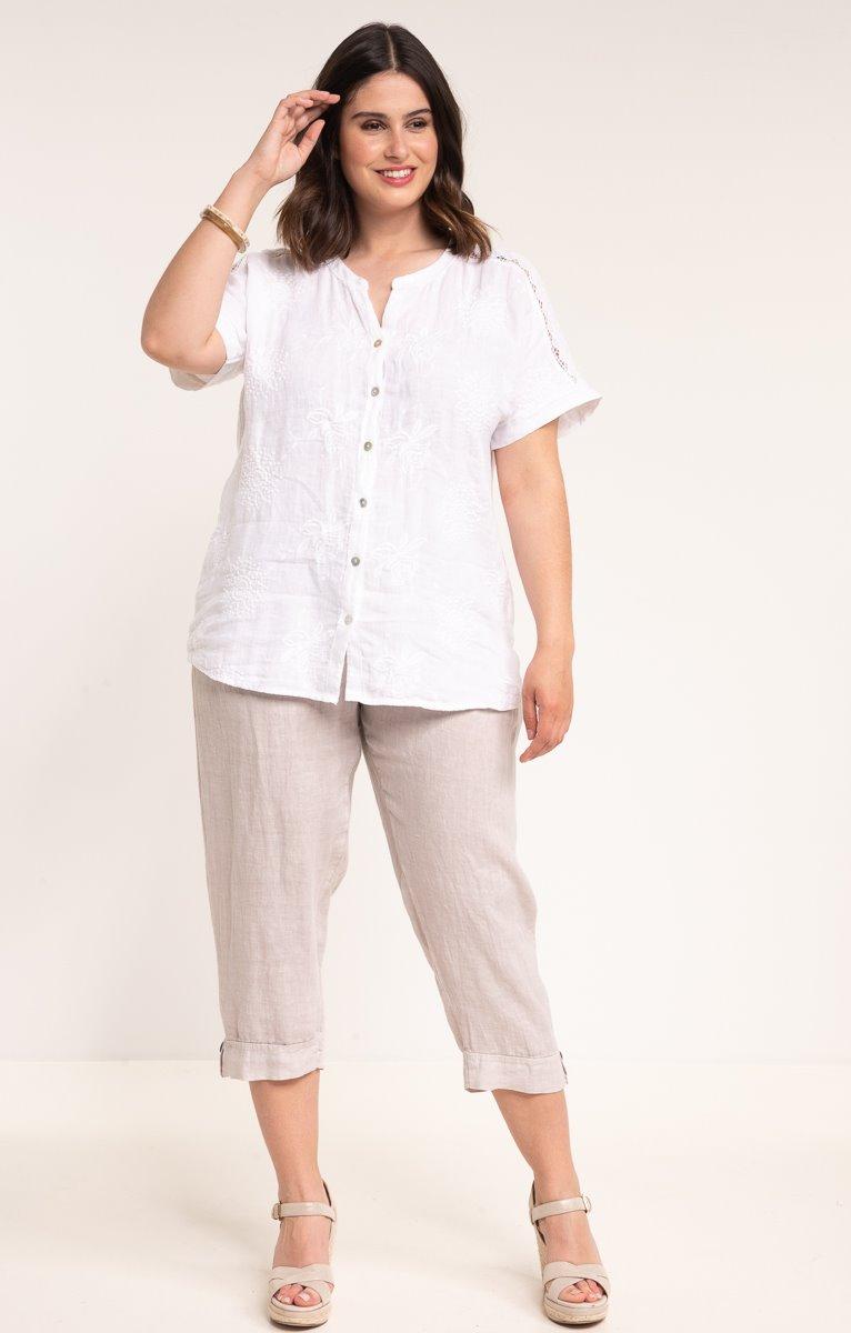 Pantalon en lin avec 3 boutons coco