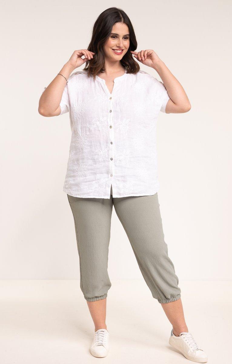 Pantalon boule avec bouton coco ceinture