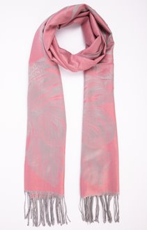 Foulard jacquard imprimé rose poudré
