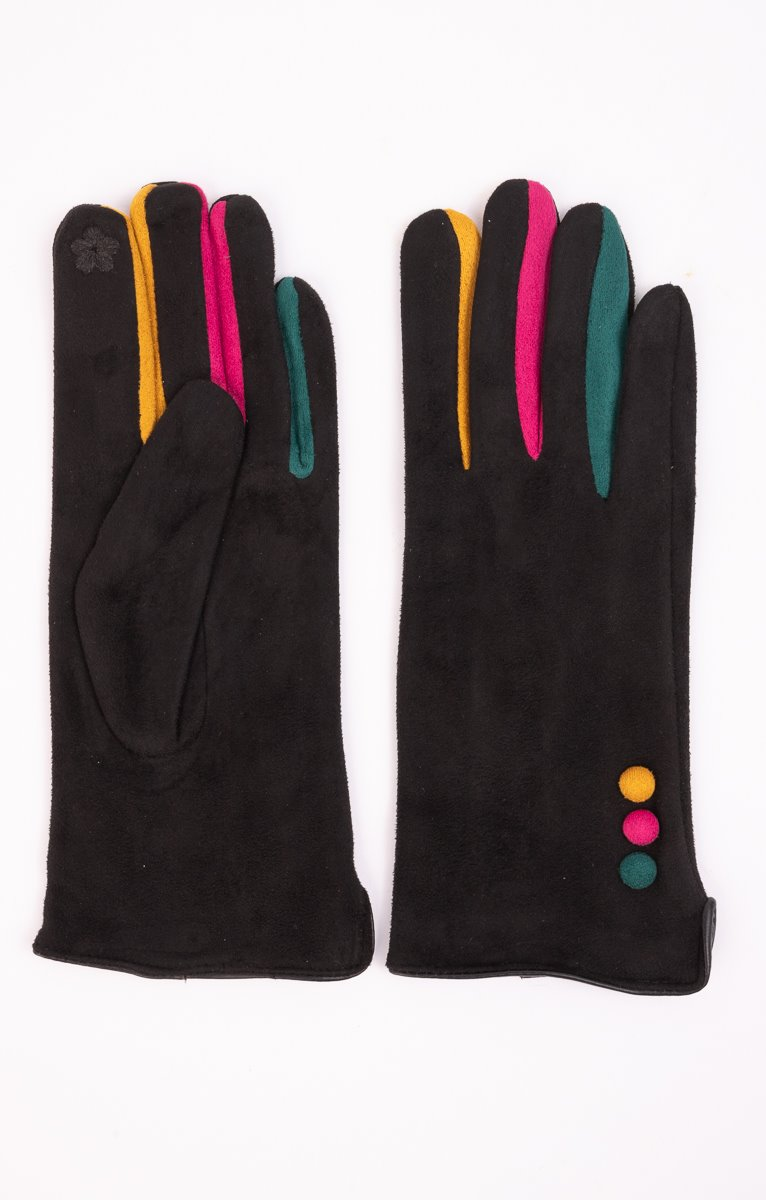 Gants daim avec doigts multico