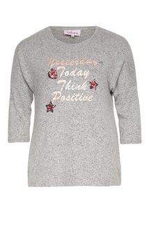 Tee-shirt chiné avec écriture et motifs