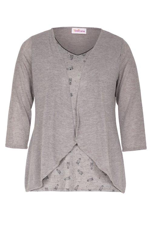 Tee-shirt avec gilet imprimé hiboux