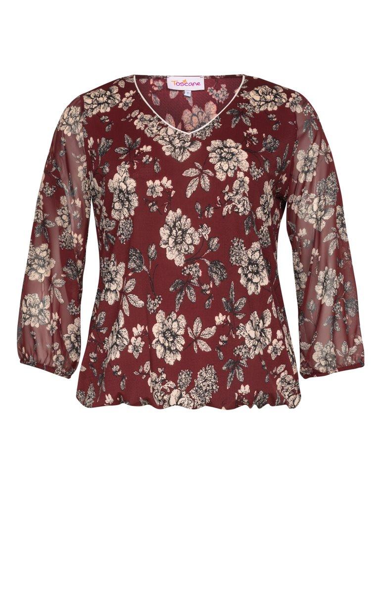 Tee-shirt bi-matière imprimé fleurs