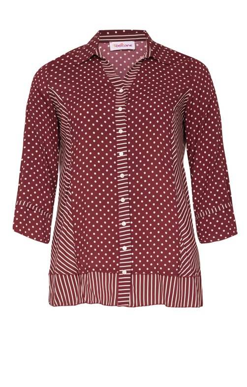 CHEMISE PATCH POIS + RAYURES