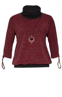 Tee-shirt chaud col montant avec collier