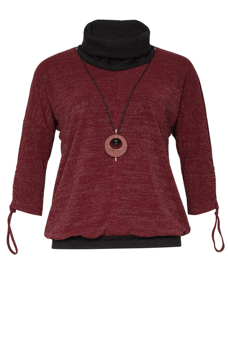 Tee-shirt chaud col montant avec collier