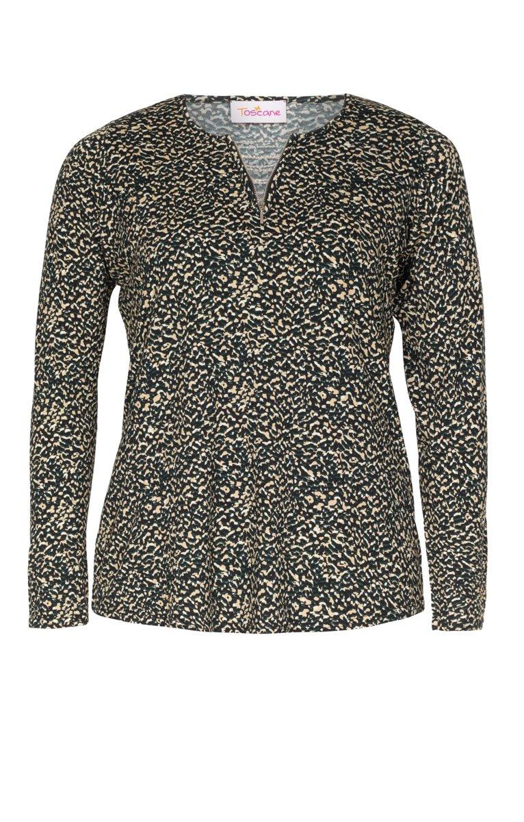 Tee-shirt motif léopard avec ZIP au col