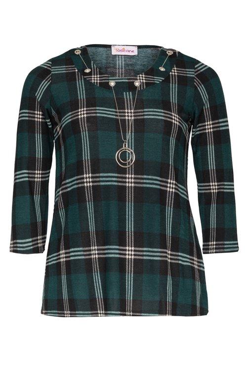 Tee-shirt à carreaux vert avec collier