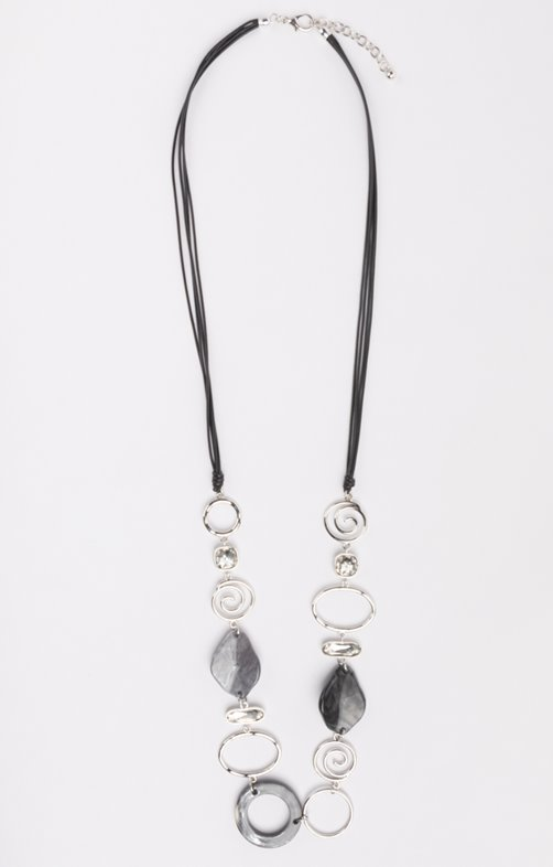 Collier long cercles entrelacés