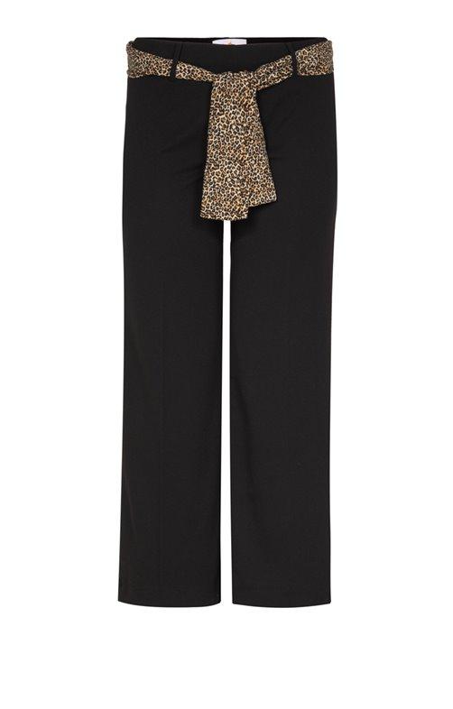 Pantalon large ceinture léopard