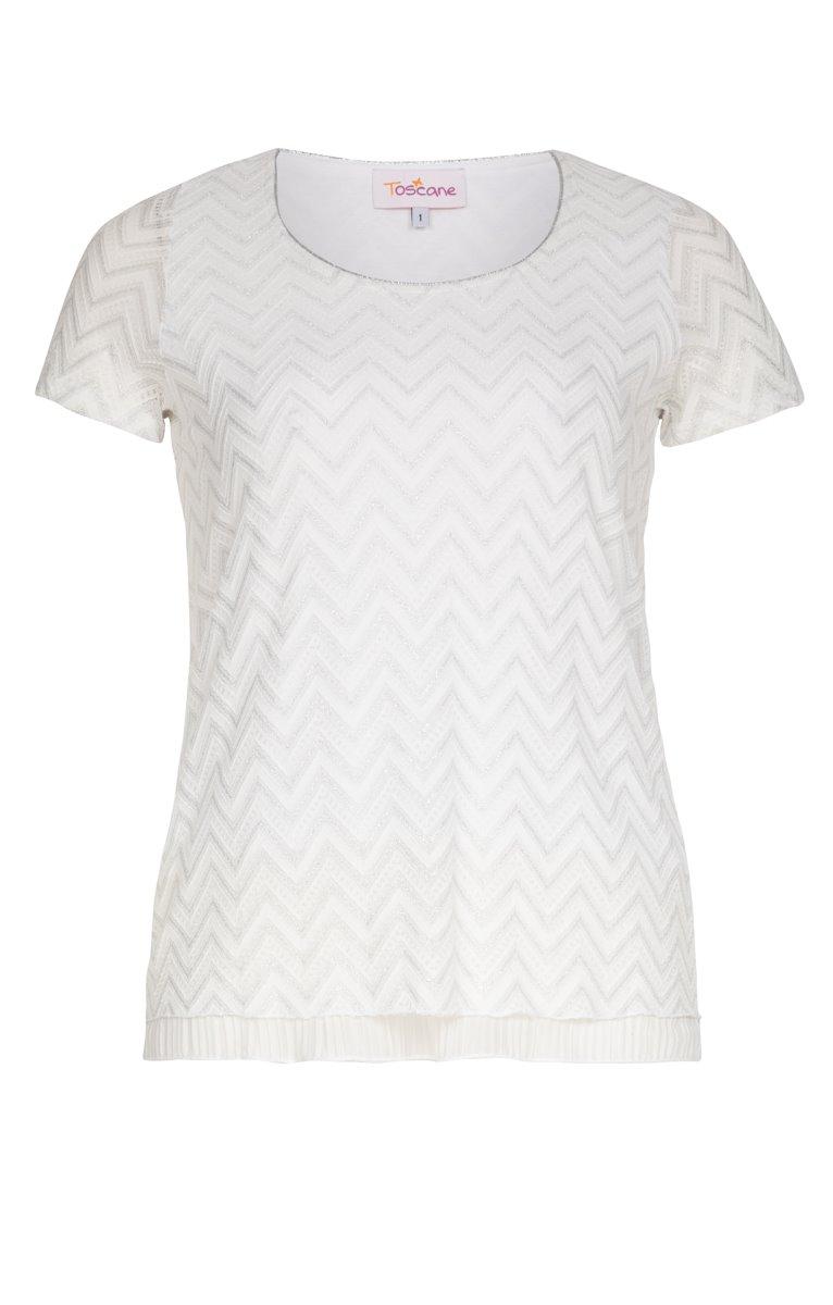 Tee-shirt blanc et argent avec doublure