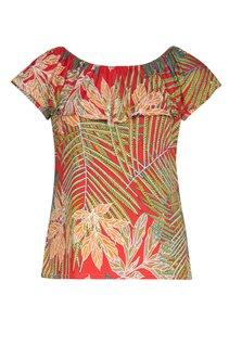 Tee-shirt imprimé avec volant au col