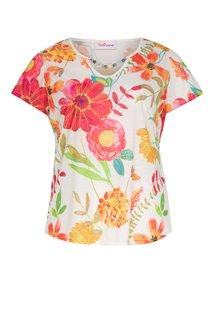 Tee-shirt imprimé à fleurs avec collier