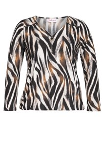 TEE-SHIRT ZEBRE MARRON COL V ZIP