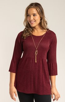 PULL PLISSE COL ROND AVEC MANCHES