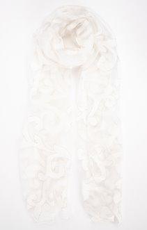 Foulard blanc dévoré avec fil lurex