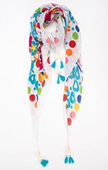 Foulard imprimé avec pompons bicolore