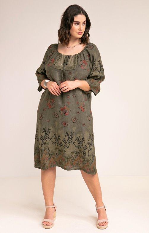 Robe imprimée en lin