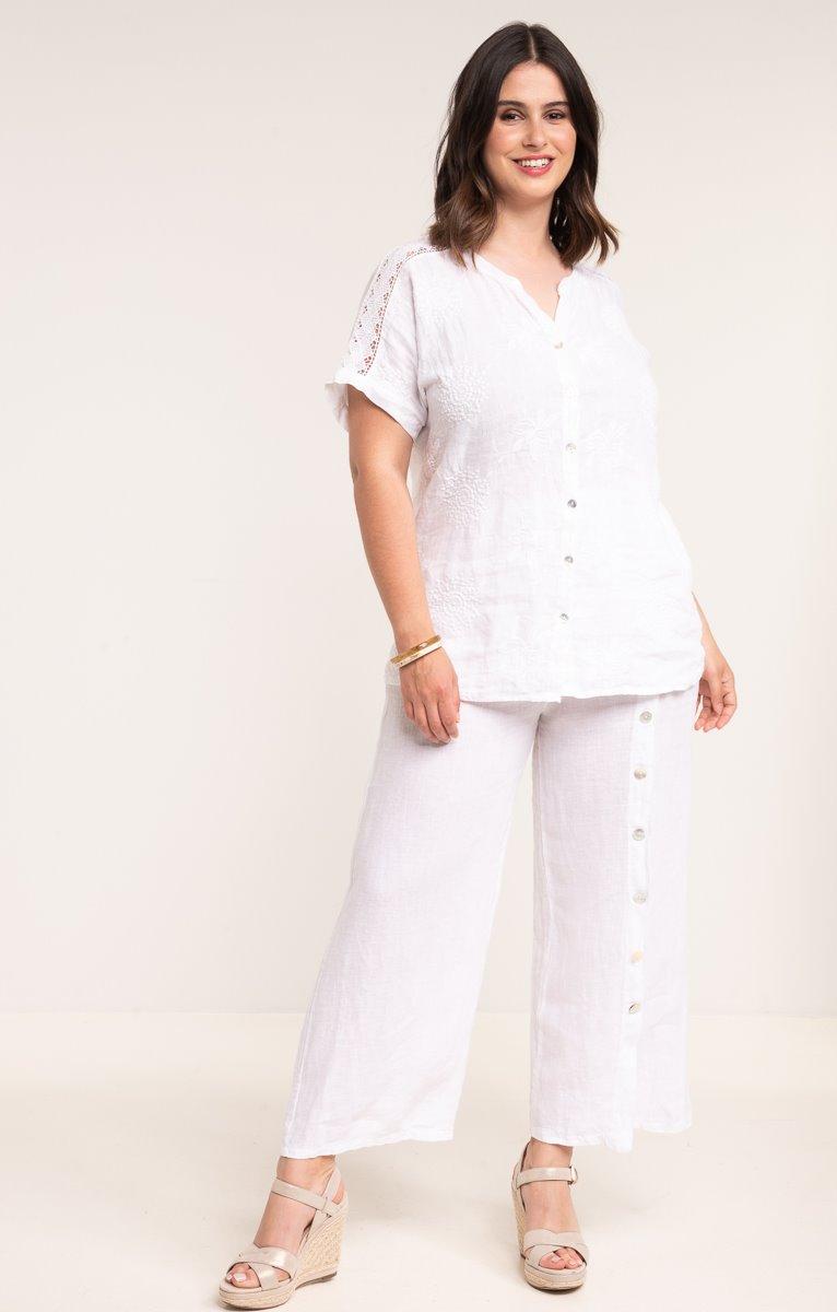 pantalon lin blanc boutons nacre