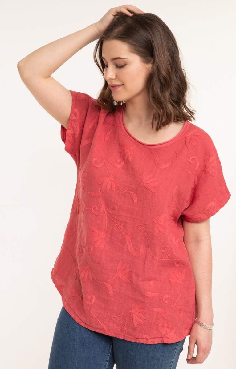 Tee-shirt uni brodé