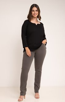 Pantalon 5 poches, animation strass